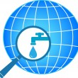 Planet and magnifier with tap - Stock Vector