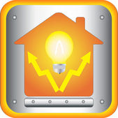 Electrical symbol with bulb and house — Vector de stock