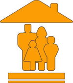 Yellow sign with house and family silhouette — Vector de stock