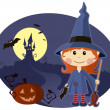 Witch girl — Stock Vector