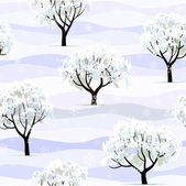 Trees in snow in winter garden seamless — Vector de stock