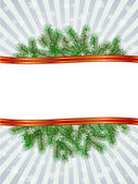 Christmas with fir branch pattern frame — Stock Vector