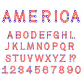 USA symbol alphabet letters isolated — Stockvektor