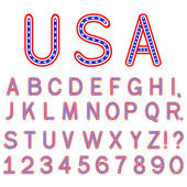 USA symbol alphabet letters isolated — Stock Vector