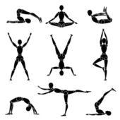 Model man silhouette yoga gymnastics recreation — Stock Vector