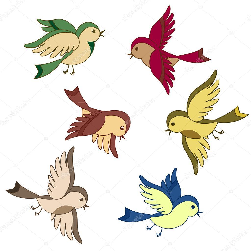 Set of flying bird cartoon stock illustration