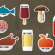 Food stickers. - Stock Vector