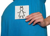 The pregnant woman holds drawing of the girl — Stock Photo
