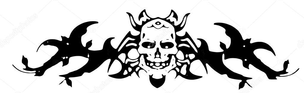 孤立在白色背景上的黑色骷髅手画可以用作纹身— photo by atthapols