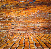 Ancient brick wall and floor — Stock Photo
