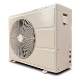 White air compressor isolated tilted left — Stock Photo