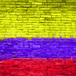 Colombia flag painted on wall - Stock Photo