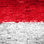 Indonesien-Flagge, die auf die Wand gemalt — Stockfoto