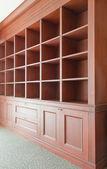 Empty wooden shelves — Stock Photo