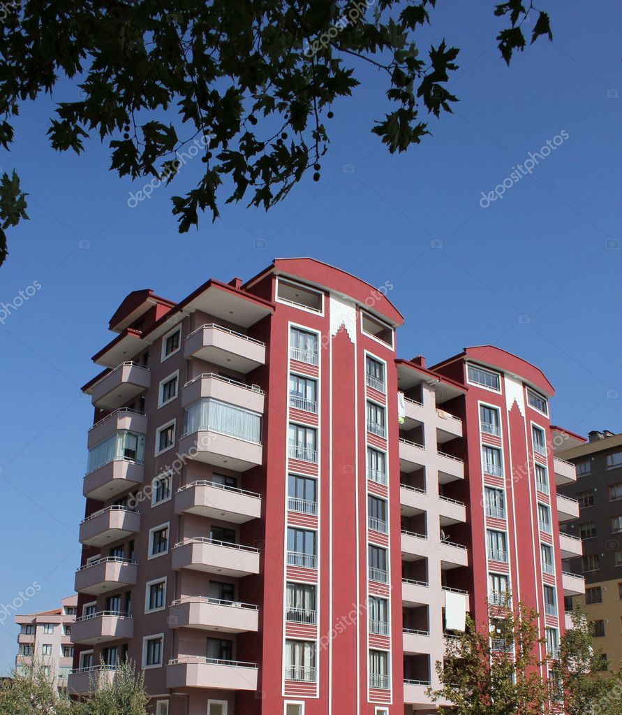 Apartment block over blue sky  Stock Photo #6825937