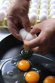 Und eine geformte glasfaser-ei-omelette pfanne — Stockfoto