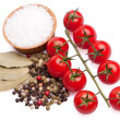 Cherry tomatoes with herbs and sea salt — Stock Photo #7073057