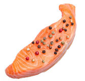 Fresh slice of salmon with color pepper — Stock Photo