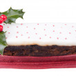 Christmas top iced fruit cake — Stock Photo