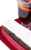 ホットワインでクリスマスのフルーツ ケーキ — ストック写真