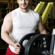 Man at bench press — Foto Stock