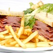 Smoked meat sandwich with frys and ceasar — Stock Photo #7478841