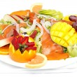 Smoked salmon salad with fresh fruit - Stock Photo