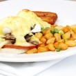 Mushroom ham and cheese eggs benedict — Stock Photo #7478924