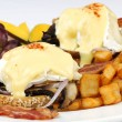 Portobello mushroom brie eggs benedict - Stock Photo