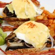 Portobello mushroom brie eggs benedict — Stock Photo