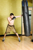 Kickboxer working out — Stock Photo