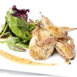 Quail with green and purple salad — Stock Photo #7530250