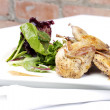 Quail with green and purple salad — Stock Photo