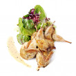Quail with green and purple salad — Stock Photo #7530256