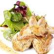 Quail with green and purple salad — Stock Photo #7530260