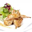 Quail with green and purple salad — Stock Photo #7530263