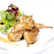 Quail with green and purple salad — Stock Photo #7530264
