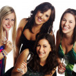Pretty young girls celebrating with champagne — Stock Photo