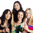 Isolated image of cheerful young females — Stock Photo