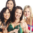 Stock Photo: Attractive group of young happy girls with champagne