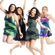 Group portrait of young excited girls jumping — Stock Photo