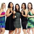 Group of confident young woman celebrating with champagne — Stock Photo
