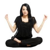 Joven empresaria casual en posición de loto yoga — Foto de Stock