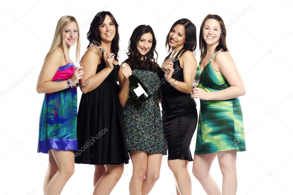 Multi ethnic young girls partying on white - Indoors  — Stock Photo #7530569