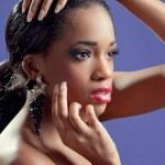 portret młodej kobiety piękne czarne zmysłowy — Zdjęcie stockowe