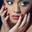 Beautiful indian woman with bridal makeup, closeup shot — Stock Photo #6946045