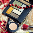 Cosmetics for Christmas night makeup — Stock Photo