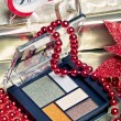 Cosmetics for Christmas night makeup: an eyeshadow palette — Stock Photo