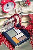 Cosmetics for Christmas night makeup: an eyeshadow palette — Foto de Stock