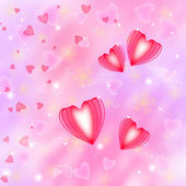 Golden background with red hearts — Stock Photo